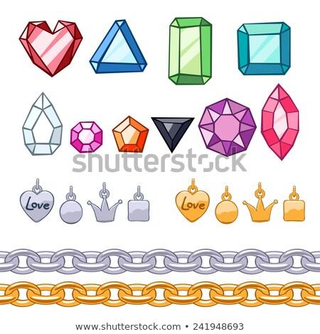 Fényes gyémántok szett fehér gyémánt izolált Stock fotó © pakete