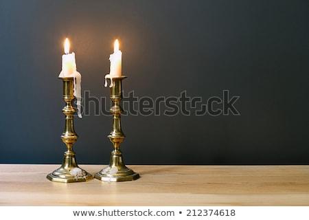 Table en bois chandelier photo noir Photo stock © bezikus