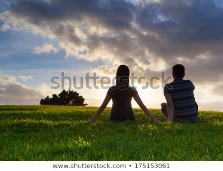man and woman silhouette in Sitting On Ground pose Stock photo © Istanbul2009