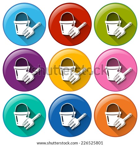 Round buttons with a toy pail and fork Stock photo © bluering