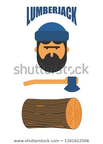 lenhador · silhueta · árvore · trabalhar · natureza - foto stock © popaukropa