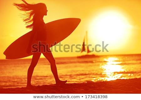 женщину · купальник · пальмовых · листьев · три · четверти · длины · выстрел · красивой - Сток-фото © neonshot
