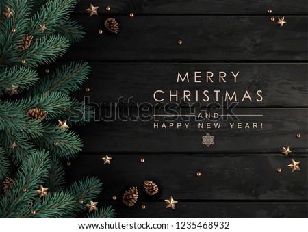 Houten kerstboom tekst vrolijk christmas sneeuw Stockfoto © Lana_M