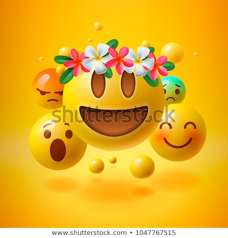 Realistic yellow emoticons with flower on head, summer concept, emoji with wreath flowers on head, v Stock photo © ikopylov