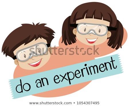 Wyrażenie eksperyment chłopca dziewczyna maska Zdjęcia stock © bluering