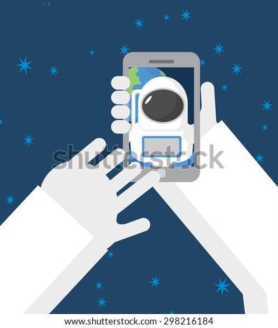 űrhajós űr telefon háttér Föld férfi Stock fotó © popaukropa