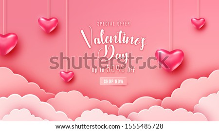 Valentines Day Party Flyer Design with Love Typography Letter and Flying Balloon Heart on Pink Backg Stock photo © articular