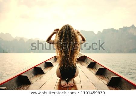 Długie włosy kobieta podróży zestaw różny krajobraz Zdjęcia stock © toyotoyo
