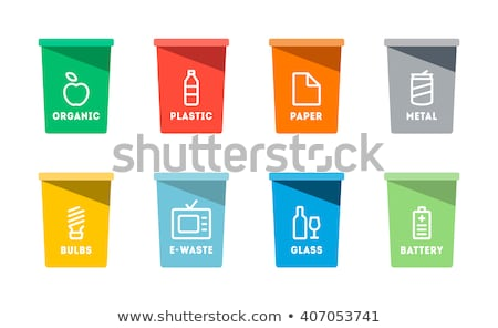 Paper Plastic and Glass Waste Vector Illustration Stock photo © robuart