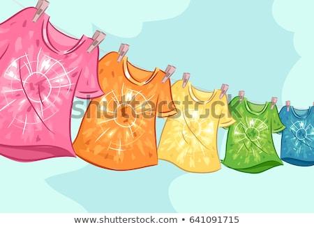 Gefärbt Shirt Wäscheleine Illustration mehrere hängen Stock foto © lenm