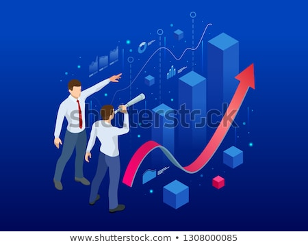sales growth isometric flat vector conceptual illustration stock photo © tarikvision