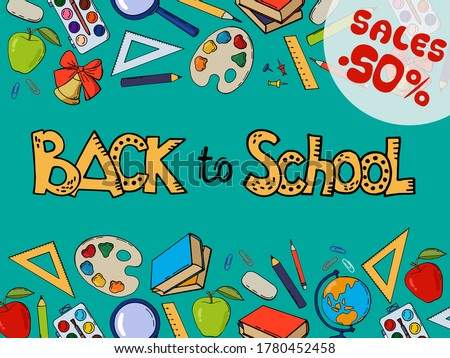 Back to School Poster with Inscription and Palette Stock photo © robuart