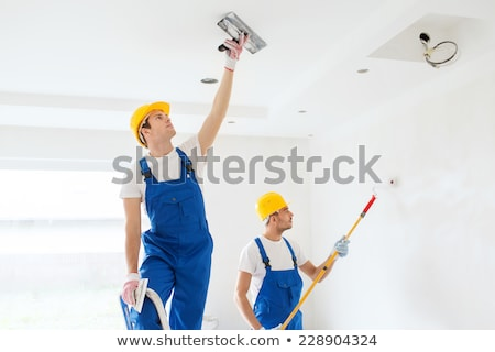 Malarz kolega malarstwo ściany widok z boku kobieta Zdjęcia stock © Kzenon