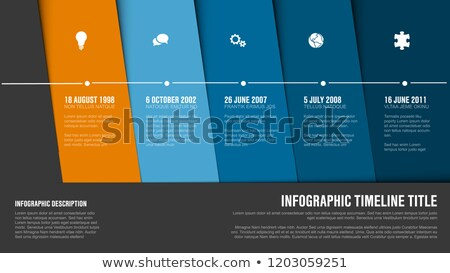 Timeline template with blue diagonal blocks Stock photo © orson