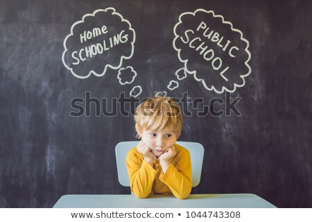 Stock photo: Homeschooling vs Public Schools - The boy sits at the table and chooses between home schooling and p