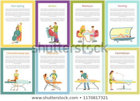 Hair Styling Tanning and Massage Posters Vector Stock photo © robuart