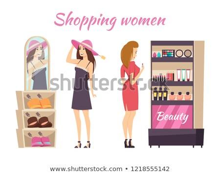 Shopping Women Wearing Hats Makeup Stall Vector Stock photo © robuart