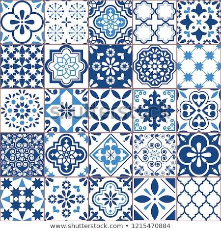 Tile vector pattern - Azulejo Lisbon retro old tiles mosaic, Portuguese seamless green design Stock photo © RedKoala