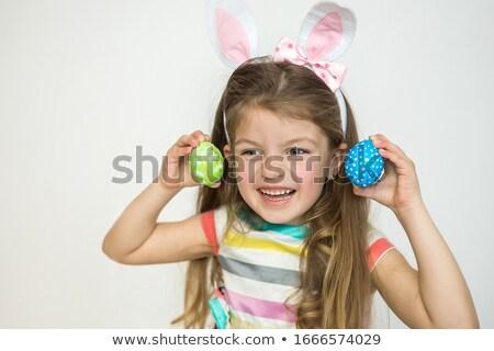 Boldog lány élvezi húsvét ünnep portré aranyos Stock fotó © Anna_Om