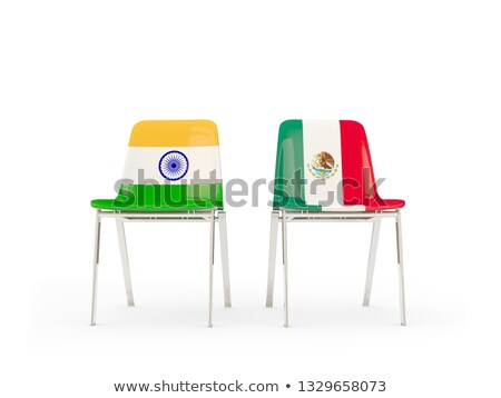 Two chairs with flags of India and mexico Stock photo © MikhailMishchenko