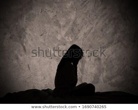triest · eenzaam · meisje · naast · muur · kid - stockfoto © Lopolo