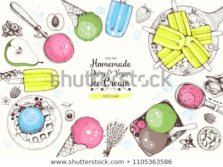 Foto d'archivio: Color Ice Cream In Cup With Berries Hand Drawn Vector