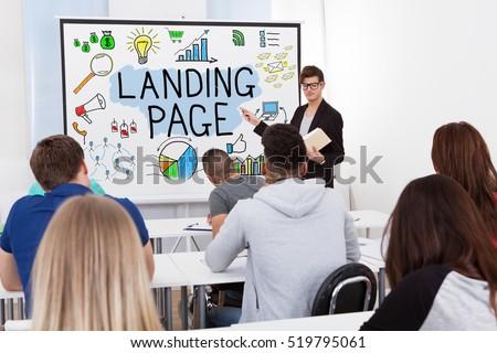 Professionele ontwikkeling leerkrachten landing pagina kwalificatie Stockfoto © RAStudio