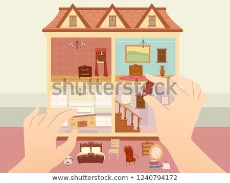 Hands Doll House Arrange Illustration Stock photo © lenm