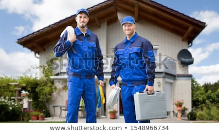 gelukkig · loodgieter · radiator · portret · mannelijke - stockfoto © andreypopov