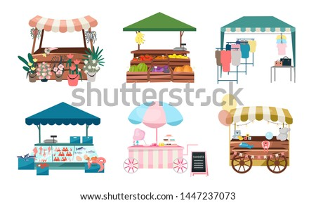 Trade Tents with Vegetables and Flowers Vector Stock photo © robuart