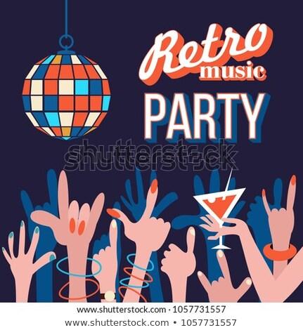 Disko topu Retro poster bağbozumu halı ışık Stok fotoğraf © dashapetrenko