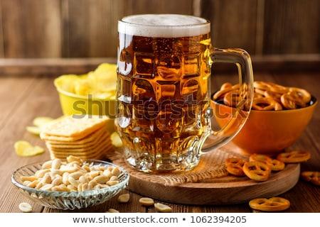 Stok fotoğraf: Bira · ahşap · fındık · cips · sosis