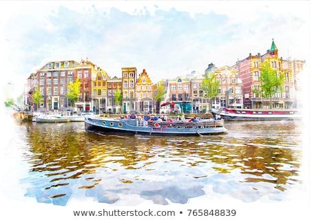Aquarela Amsterdam ponte ilustração velho branco Foto stock © unkreatives