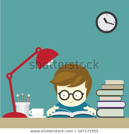 Scene with boy reading book in the room Stock photo © bluering