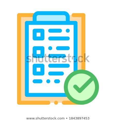 Tabletta gemkapocs elismert csekk lista vektor Stock fotó © pikepicture