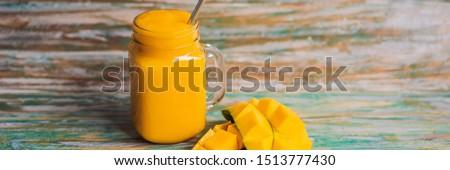 マンゴー スムージー 鋼 飲料 わら 描いた ストックフォト © galitskaya
