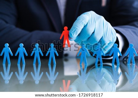 Hand In Gloves Selecting Red Candidate Stock photo © AndreyPopov