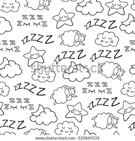 Night rest, bedtime vector seamless pattern Stock photo © barsrsind