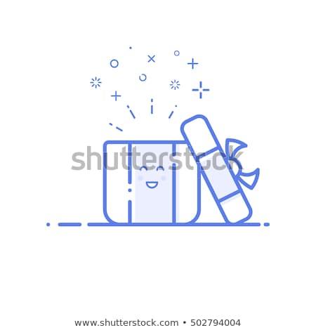 Compras on-line abrir caixa de presente negócio computador Foto stock © yupiramos