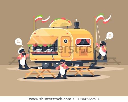 Hareketli kamyonet satış nachos kafe meksika mutfağı Stok fotoğraf © jossdiim