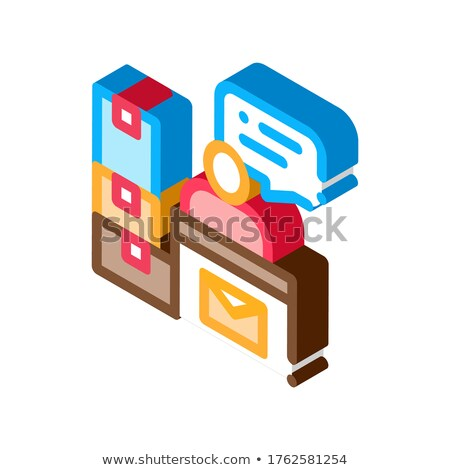 Post Office Workplace Postal Transportation Company isometric icon vector illustration Stock photo © pikepicture