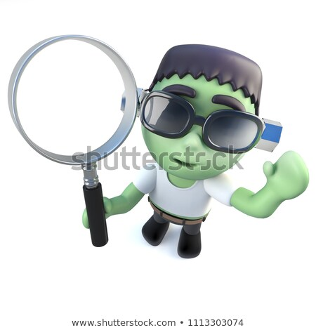 frankenstein and the magnifying glass stock photo © njaj