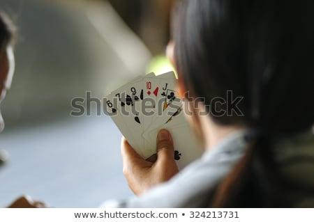 zwei · Mädchen · Spielkarten · Landschaft · Karten · Jugendlichen - stock foto © photography33