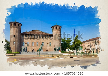 fontein · kasteel · milaan · Italië · gebouw · stad - stockfoto © claudiodivizia