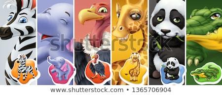 Rajzolt állatok címkék szett papír baba terv Stock fotó © balasoiu