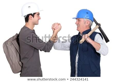 artesão · aprendiz · aperto · de · mãos · mãos · homem · homens - foto stock © photography33