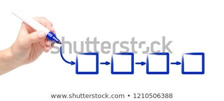 Visão fluxograma azul marcador masculino mão Foto stock © ivelin