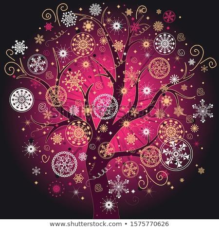 elegante · flocos · de · neve · eps · natal · árvore - foto stock © beholdereye