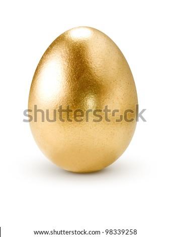 ovo · dourado · isolado · branco · ovo · fundo · metal - foto stock © lenapix