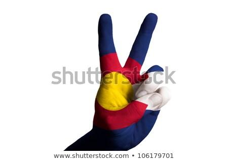 vlag · twee · vinger · omhoog · gebaar · overwinning - stockfoto © vepar5